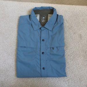 REI Men's Blue Button Down Shirt Sleeve Shirt